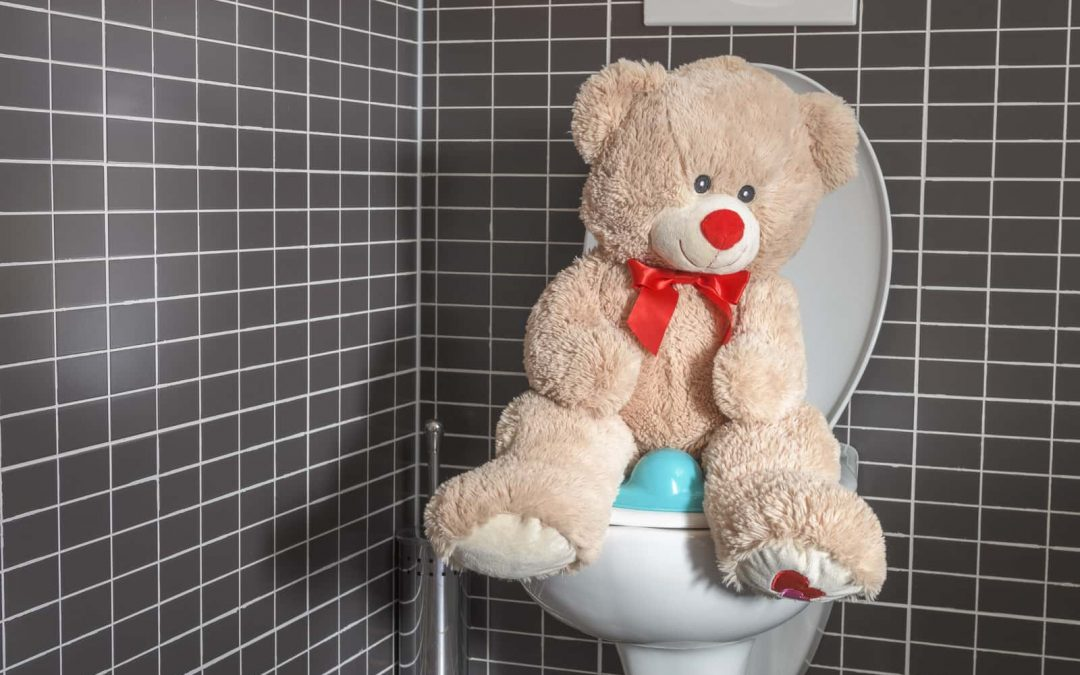 A teddy bear sits atop a clogged toilet