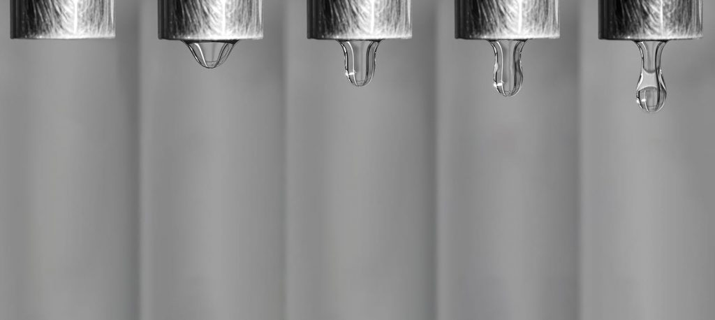A plumbing leak can be hard to detect, and the drip may be hidden from view. A frame by frame image of water dripping out of a faucet.