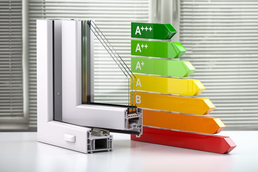 An energy efficient windows scale from A+++ to D with window pane cutouts